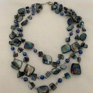 ABALONE AND GLASS BEAD NECKLACE